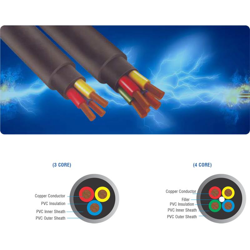 PVC 3 & 4 Core Double Sheathed Round Cables   Algo Pumps & Motors ...